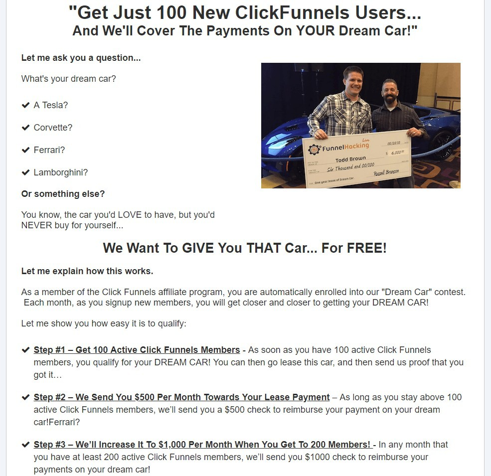 ClickFunnels Affiliate Can Win A Free Car