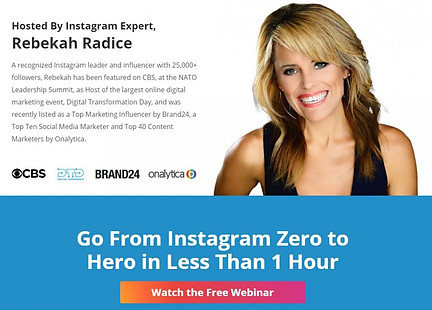 Free Instagram Webinat Hosted by Rebekah Radice, Instagram Expert